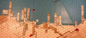 Oct II 41 Allied end of the Combat Phase dispositions in the Western Desert region: the Allies have advanced after combat into the Porto Bardiya hex, both sides' air units in the target hex have rebased, and the Allied step of attack supply at 19A:0919 has been expended and removed from the maps